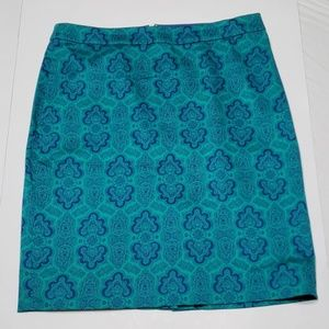 J. Crew The Pencil Skirt in Sateen Paisley Print